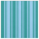 [ Thumbnail: Light Sky Blue & Dark Cyan Colored Stripes Fabric ]