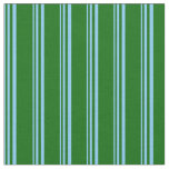 [ Thumbnail: Light Sky Blue & Dark Green Lines/Stripes Pattern Fabric ]