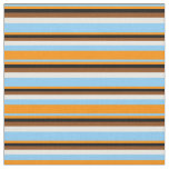 [ Thumbnail: Light Sky Blue, Dark Orange, Black, Brown & White Fabric ]