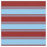 [ Thumbnail: Light Sky Blue & Dark Red Colored Striped Pattern Fabric ]