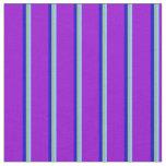 [ Thumbnail: Light Sky Blue, Dark Sea Green, Blue & Dark Violet Fabric ]