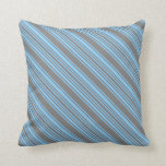[ Thumbnail: Light Sky Blue & Gray Lines Throw Pillow ]