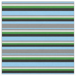 [ Thumbnail: Light Sky Blue, Gray, Mint Cream, Green & Black Fabric ]