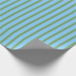 [ Thumbnail: Light Sky Blue & Green Colored Pattern Wrapping Paper ]
