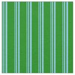 [ Thumbnail: Light Sky Blue & Green Lines Pattern Fabric ]