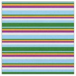 [ Thumbnail: Light Sky Blue, Green, Orange, Purple & Mint Cream Fabric ]