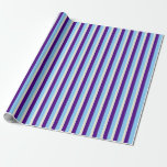[ Thumbnail: Light Sky Blue, Indigo & Beige Colored Pattern Wrapping Paper ]