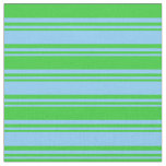 [ Thumbnail: Light Sky Blue & Lime Green Colored Stripes Fabric ]