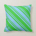 [ Thumbnail: Light Sky Blue & Lime Green Colored Stripes Pillow ]