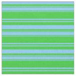 [ Thumbnail: Light Sky Blue & Lime Green Stripes Pattern Fabric ]