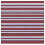 [ Thumbnail: Light Sky Blue & Maroon Stripes/Lines Pattern Fabric ]