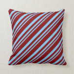 [ Thumbnail: Light Sky Blue & Maroon Stripes/Lines Pattern Throw Pillow ]