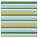 [ Thumbnail: Light Sky Blue, Orange, Dark Green, Teal & White Fabric ]
