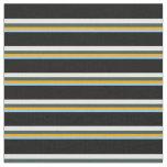 [ Thumbnail: Light Sky Blue, Orange, Slate Gray, White & Black Fabric ]