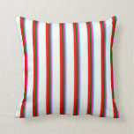 [ Thumbnail: Light Sky Blue, Pink, Dark Green, Red & Mint Cream Throw Pillow ]