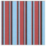 [ Thumbnail: Light Sky Blue, Red & Black Colored Stripes Fabric ]