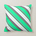 [ Thumbnail: Light Sky Blue, Red, Green, White & Black Colored Throw Pillow ]