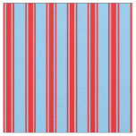 [ Thumbnail: Light Sky Blue & Red Lined Pattern Fabric ]