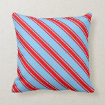 [ Thumbnail: Light Sky Blue & Red Lined Pattern Throw Pillow ]