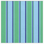 [ Thumbnail: Light Sky Blue, Sea Green & Blue Lines Pattern Fabric ]