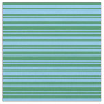 [ Thumbnail: Light Sky Blue & Sea Green Lines/Stripes Pattern Fabric ]
