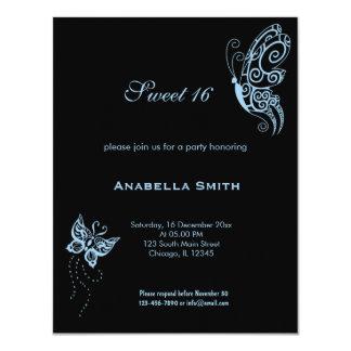 Light Sky Blue Sweet 16 Butterflies Card