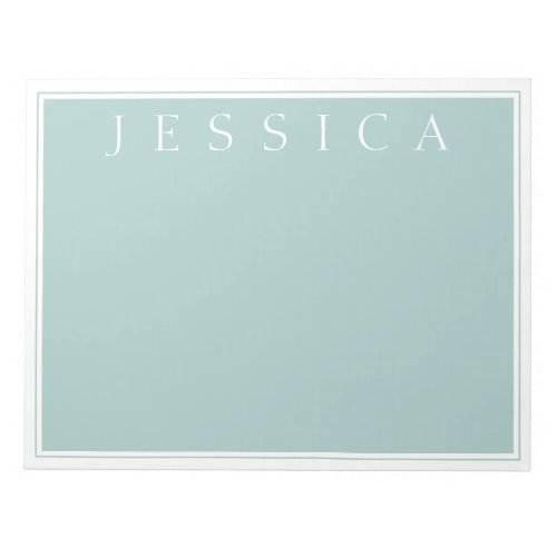 Light Slate Blue Grey  Your Name Notepad