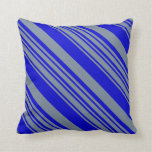 [ Thumbnail: Light Slate Gray & Blue Stripes/Lines Pattern Throw Pillow ]