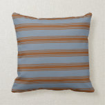 [ Thumbnail: Light Slate Gray & Brown Stripes/Lines Pattern Throw Pillow ]