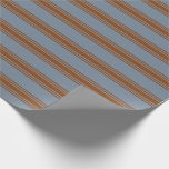 [ Thumbnail: Light Slate Gray & Brown Stripes/Lines Pattern Wrapping Paper ]