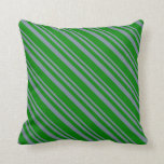 [ Thumbnail: Light Slate Gray & Green Lines Pattern Pillow ]