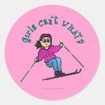 Light Snow Skier Classic Round Sticker