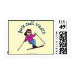Light Snow Skier Postage Stamp