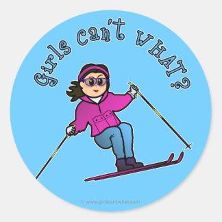 Light Snow Skier Round Sticker