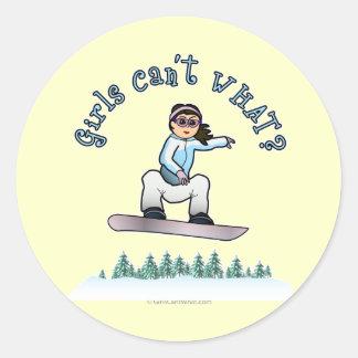 Light Snowboarder Classic Round Sticker