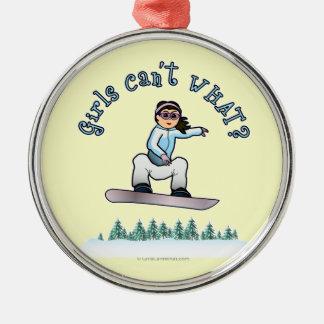 Light Snowboarder Round Metal Christmas Ornament