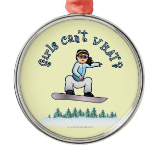 Light Snowboarder Round Metal Christmas Ornament