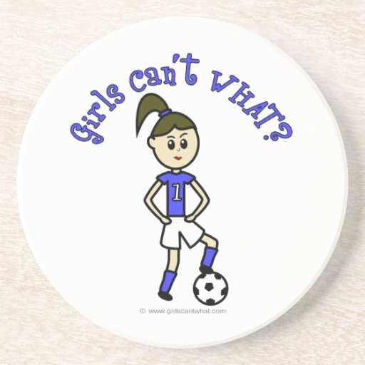 Light Soccer Girl in Blue Uniform Drink Coasters
