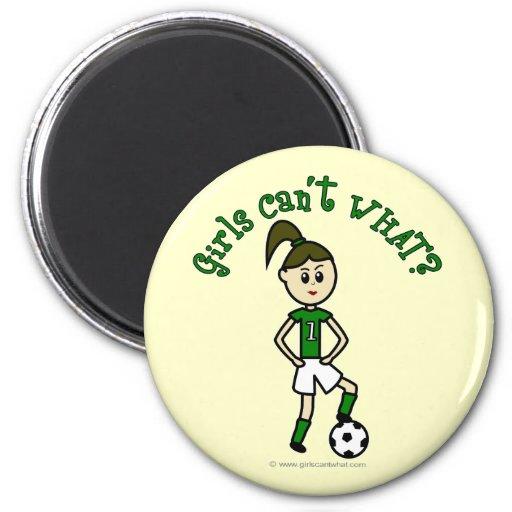 Light Soccer Girl in Green 2 Inch Round Magnet