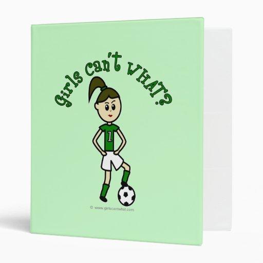 Light Soccer Girl in Green Binder