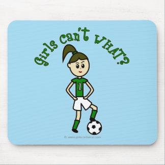 Light Soccer Girl in Green Mouse Pad