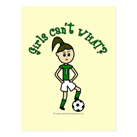 Light Soccer Girl in Green Postcard