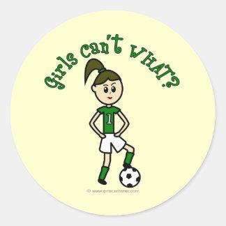 Light Soccer Girl in Green Classic Round Sticker
