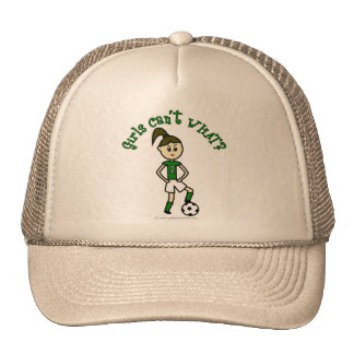 Light Soccer Girl in Green Trucker Hat