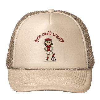 Light Soccer Girl in Red Trucker Hats
