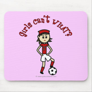 Light Soccer Girl in Red Mouse Pad