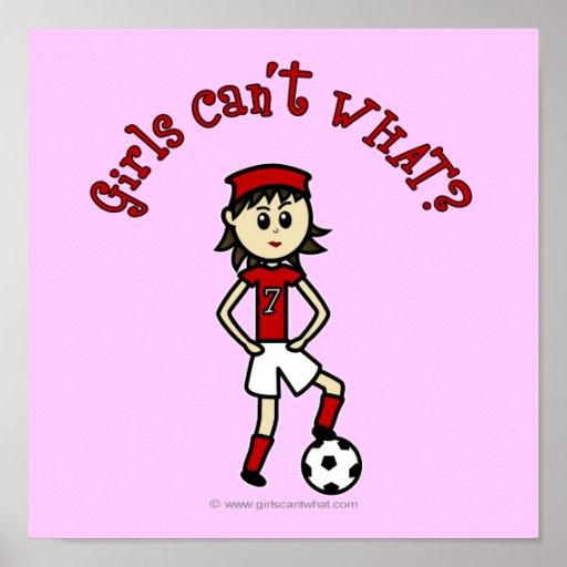 Light Soccer Girl in Red Poster