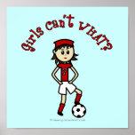 Light Soccer Girl in Red Posters