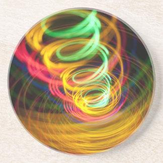 LIGHT SPIRALS NEON COLORS BLACK PARTY DISCO ABSTRA SANDSTONE COASTER