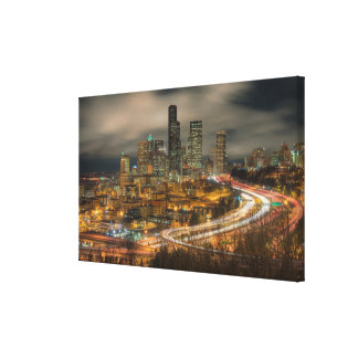 Light streaks from cars at night canvas print